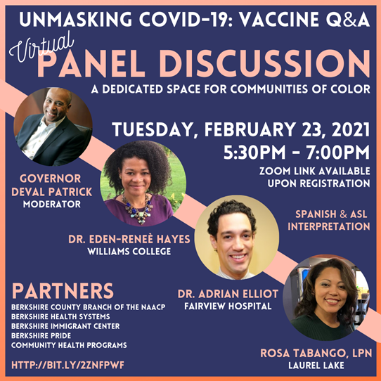 Unmasking COVID-19 Vaccine: Q&A for communities of  color – February 23, 2021, 5:30-7:00 Pm