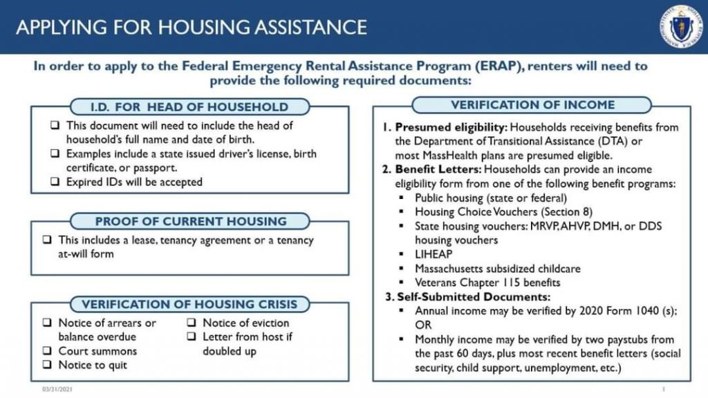 New Federal Help with Rent or mortgage